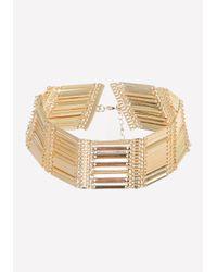 Bebe - Metallic Metal Bar Short Necklace - Lyst