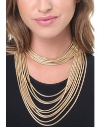 Bebe - Metallic Snake Chain Strand Necklace - Lyst