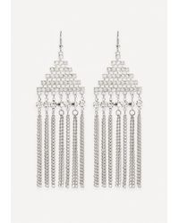 Bebe - Metallic Fringe Geo Drop Earrings - Lyst