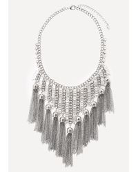 Bebe | Metallic Baguette Bib Necklace | Lyst