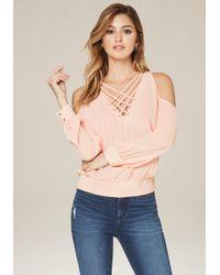 Bebe | Multicolor Alesandra Shoulder Blouse | Lyst