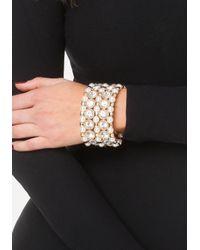Bebe - Metallic Faux Pearl Crystal Bracelet - Lyst