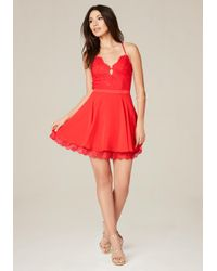 Bebe | Red Kaylee Lace Skater Dress | Lyst