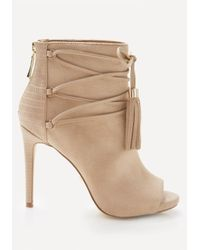 Bebe | Natural Benci Faux Suede Booties | Lyst