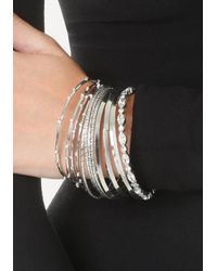 Bebe - Metallic Tiny Crystal Bangle Set - Lyst