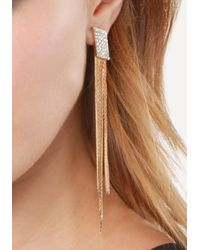 Bebe - Metallic Snake Fringe Earrings - Lyst