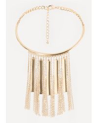 Bebe | Metallic Bar Fringe Collar Necklace | Lyst