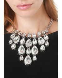 Bebe - Metallic Crystal Drop Bib Necklace - Lyst