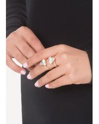 Bebe - Metallic 2-crystal Cocktail Ring - Lyst