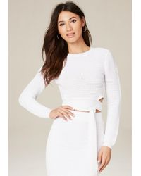 Bebe | White Ottoman Wrap Tie Crop Top | Lyst