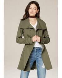 Bebe | Green Pleated Flared Trench Coat | Lyst
