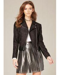 Bebe | Black Bonded Lace Moto Jacket | Lyst