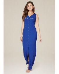 Bebe | Blue Logo Button Up Maxi Dress | Lyst