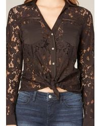 Bebe | Multicolor Lace Button Up Shirt | Lyst
