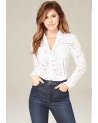 Bebe | White Lace Button Up Shirt | Lyst