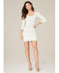 Bebe | Multicolor Striped Double V-neck Dress | Lyst