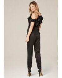 Bebe - Black Ruffle Detail Jumpsuit - Lyst