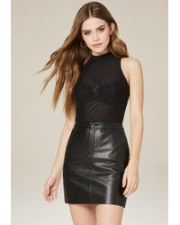 Bebe | Black Mesh Mock Neck Bodysuit | Lyst
