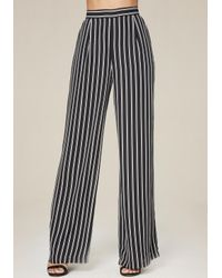 Bebe | Black Striped Wide Leg Pants | Lyst