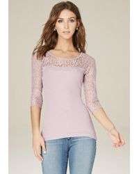 Bebe | Pink Logo Lace Rib Knit Top | Lyst