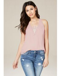Bebe | Purple Embroidered V-neck Top | Lyst