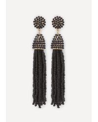 Bebe | Black Beaded Tassel Earrings | Lyst