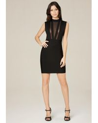 Bebe | Black Mesh Plunge Dress | Lyst