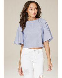 Bebe | Blue Flare Sleeve V-back Top | Lyst