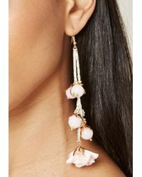 Bebe - Multicolor Flower & Bead Long Earrings - Lyst