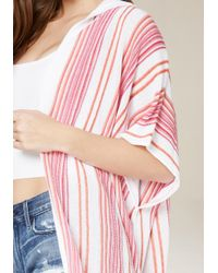 Bebe | Pink Striped Hooded Ruana | Lyst