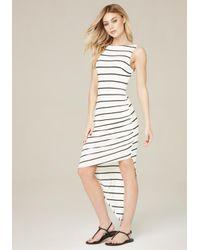 Bebe - Multicolor Striped Asymmetric Dress - Lyst