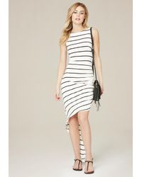 Bebe | Multicolor Striped Asymmetric Dress | Lyst