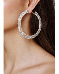 Bebe | Metallic Crystal Mega Hoop Earrings | Lyst