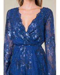 Bebe Blue Sequin Lace Romper