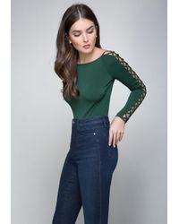 Bebe | Green Lace Up Sleeve Scoop Top | Lyst