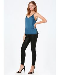 Bebe - Blue Satin Camisole - Lyst