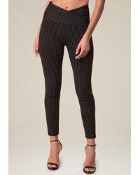 Bebe - Black Sandy Pinstripe Leggings - Lyst
