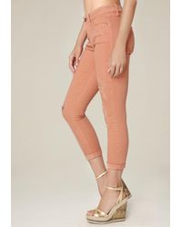 Bebe - Orange Ripped Heartbreaker Jeans - Lyst