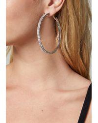Bebe - Metallic Crystal Hoop Earrings - Lyst