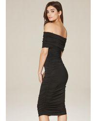 Bebe - Black Draped Off Shoulder Dress - Lyst