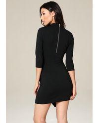 Bebe - Black Ebonee Faux Wrap Dress - Lyst