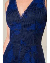 Bebe | Blue Lace V-neck Romper | Lyst