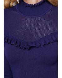 Bebe - Blue Mesh Yoke Dress - Lyst