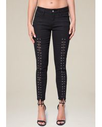 Bebe - Blue Front Lace Up Skinny Jeans - Lyst