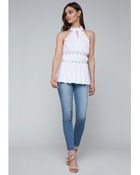 Bebe - White Studded Jersey Top - Lyst