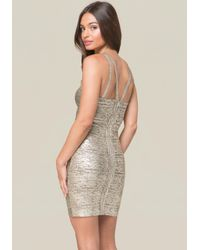Bebe - Multicolor Angelica Foil Harness Dress - Lyst