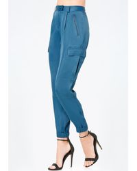 Bebe - Blue Paragon Satin Cargo Pants - Lyst