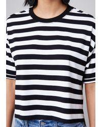 Bebe - Black Charlie Striped Top - Lyst