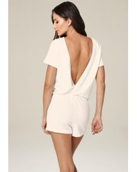 Bebe - White Open Back Drawstring Romper - Lyst