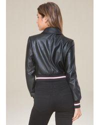 Bebe - Black Ribbed Faux Leather Jacket - Lyst